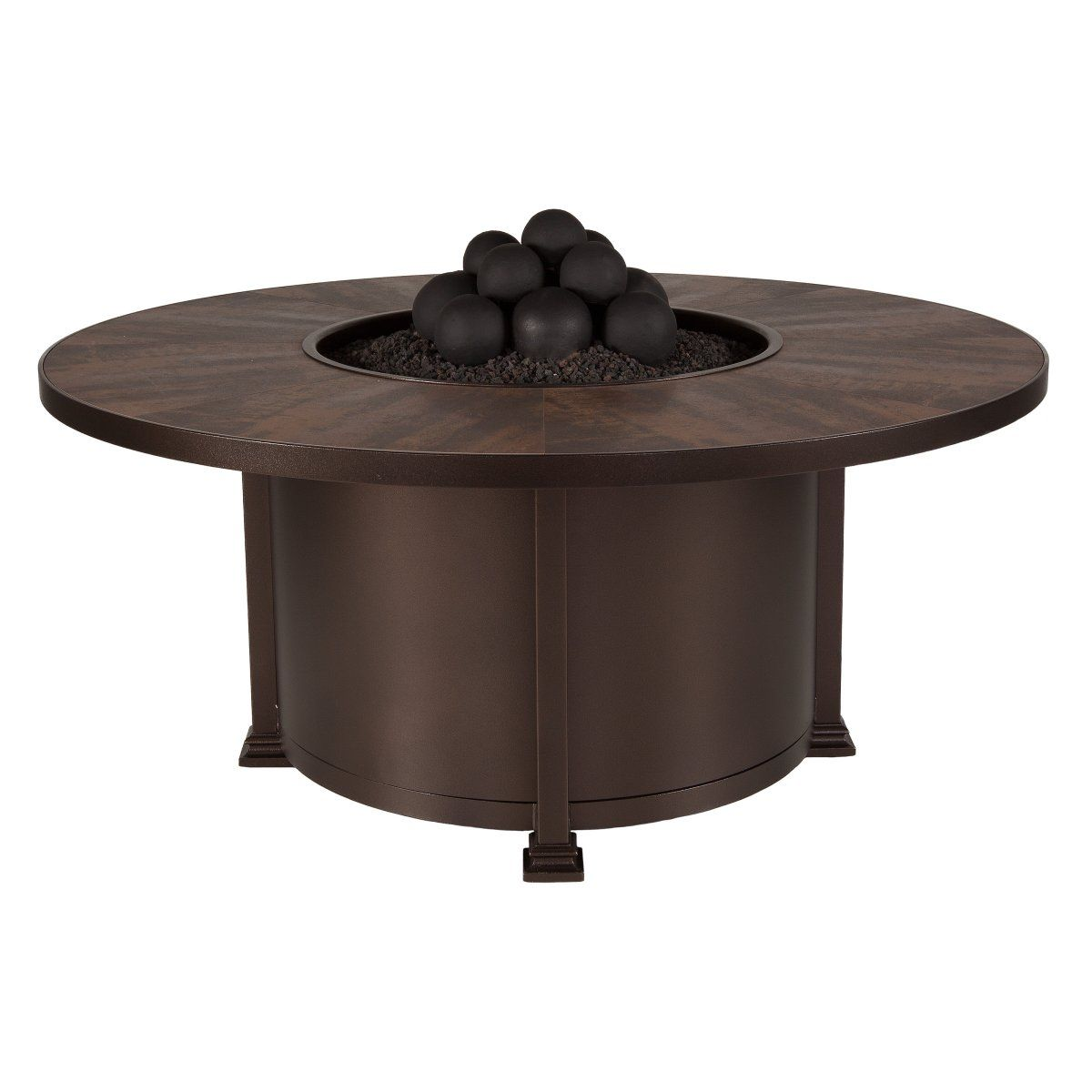 O W Lee Santorini Iron 54 In Round Fire Pit Chat Table