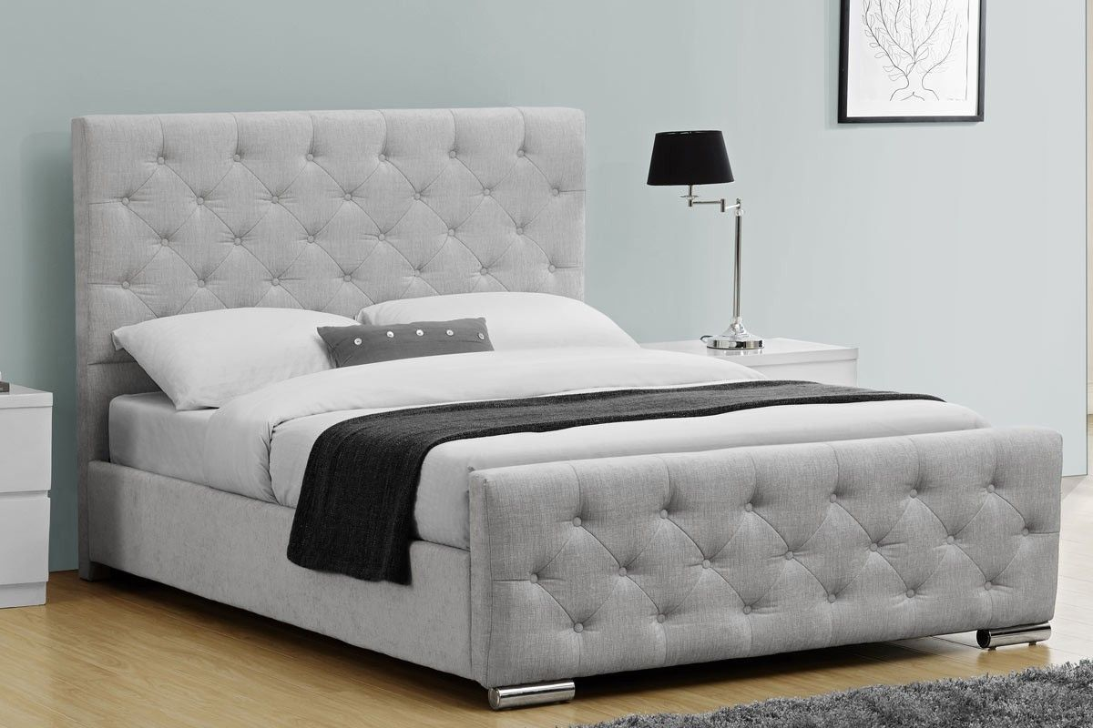 Buckingham Grey Silver Chenile Fabric Bed Frame- Double / King Size ...