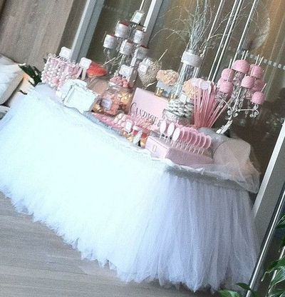 Tulle Table Skirt... Cut Tulle To Length Of Table, Tie On Long