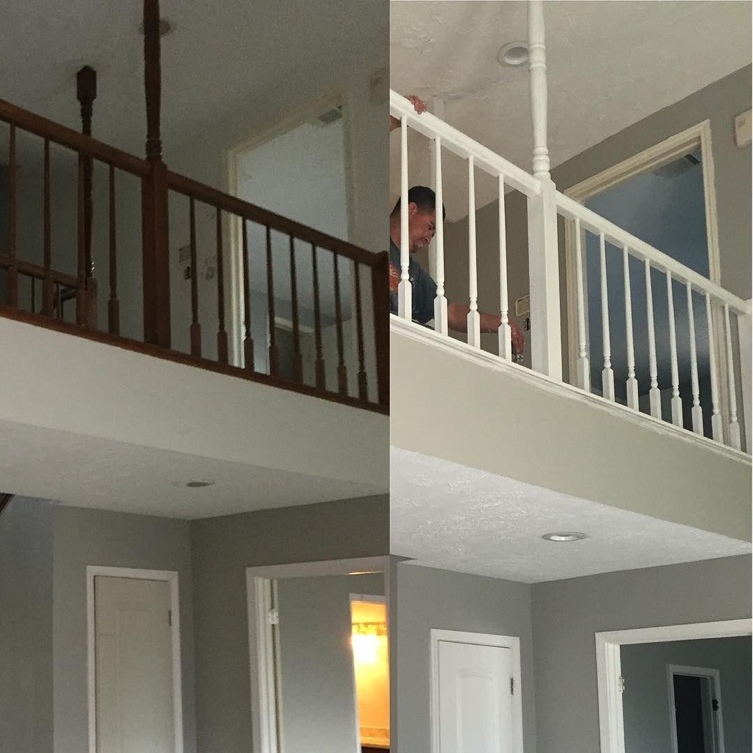 Gabraella King on Instagram: New banister color. So much brighter. #renovation #homerenovation...