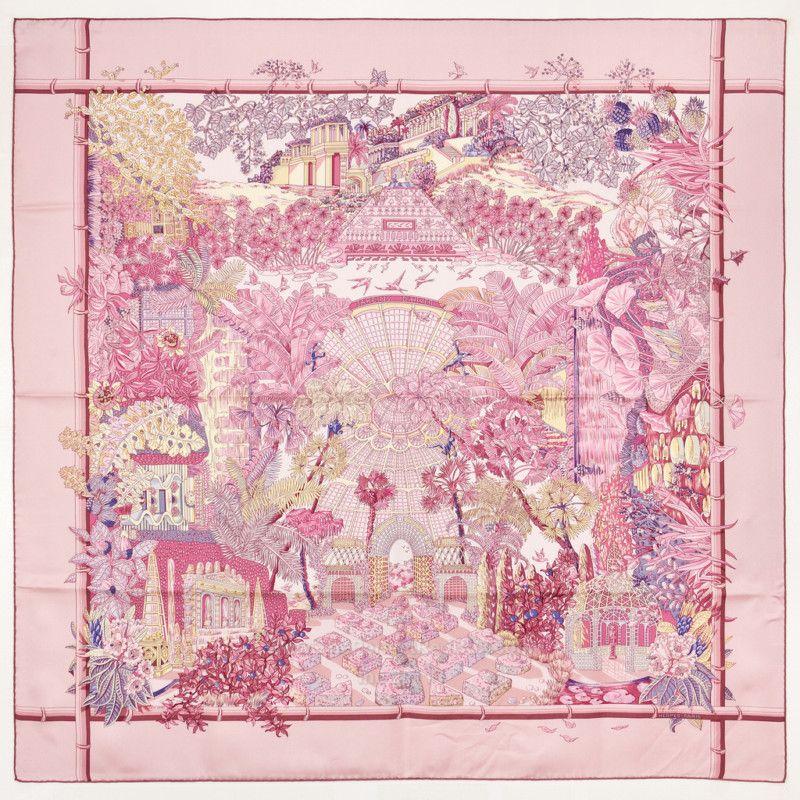 Grail authentic hermes silk scarf jardins d 39 hiver annie - Jardins dhiver com ...