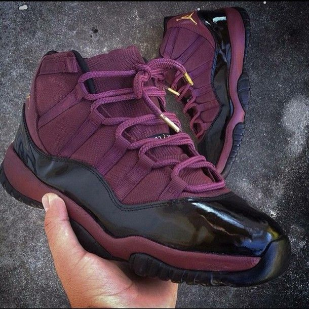 9bd732083fab60 shoes jordans black gold purple burgundy purple shoes burgundy shoes jordans  concord 11 air jordan 11 sneakers cute women black shoes plum gold shoes