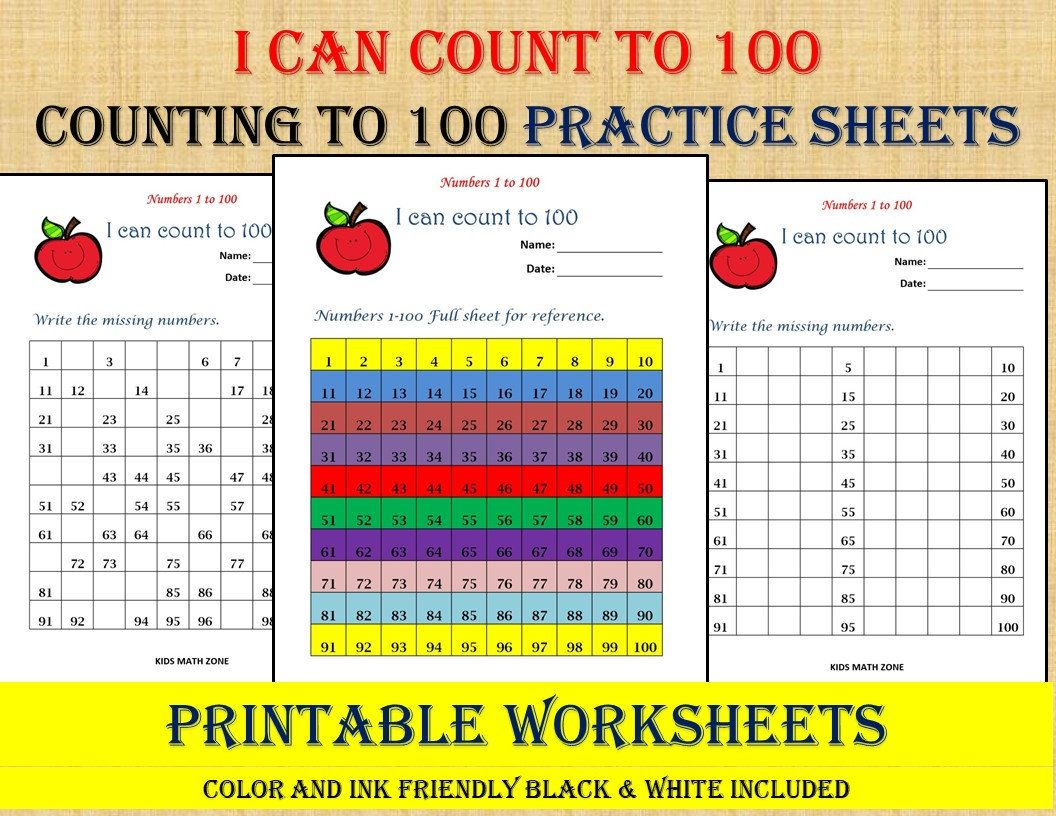 Missing Numbers 1 to 100 (10 Printable Worksheets )/pdf