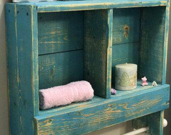 aufgearbeiteten holz kupfer rod double handtuch rack bad regal, Hause ideen