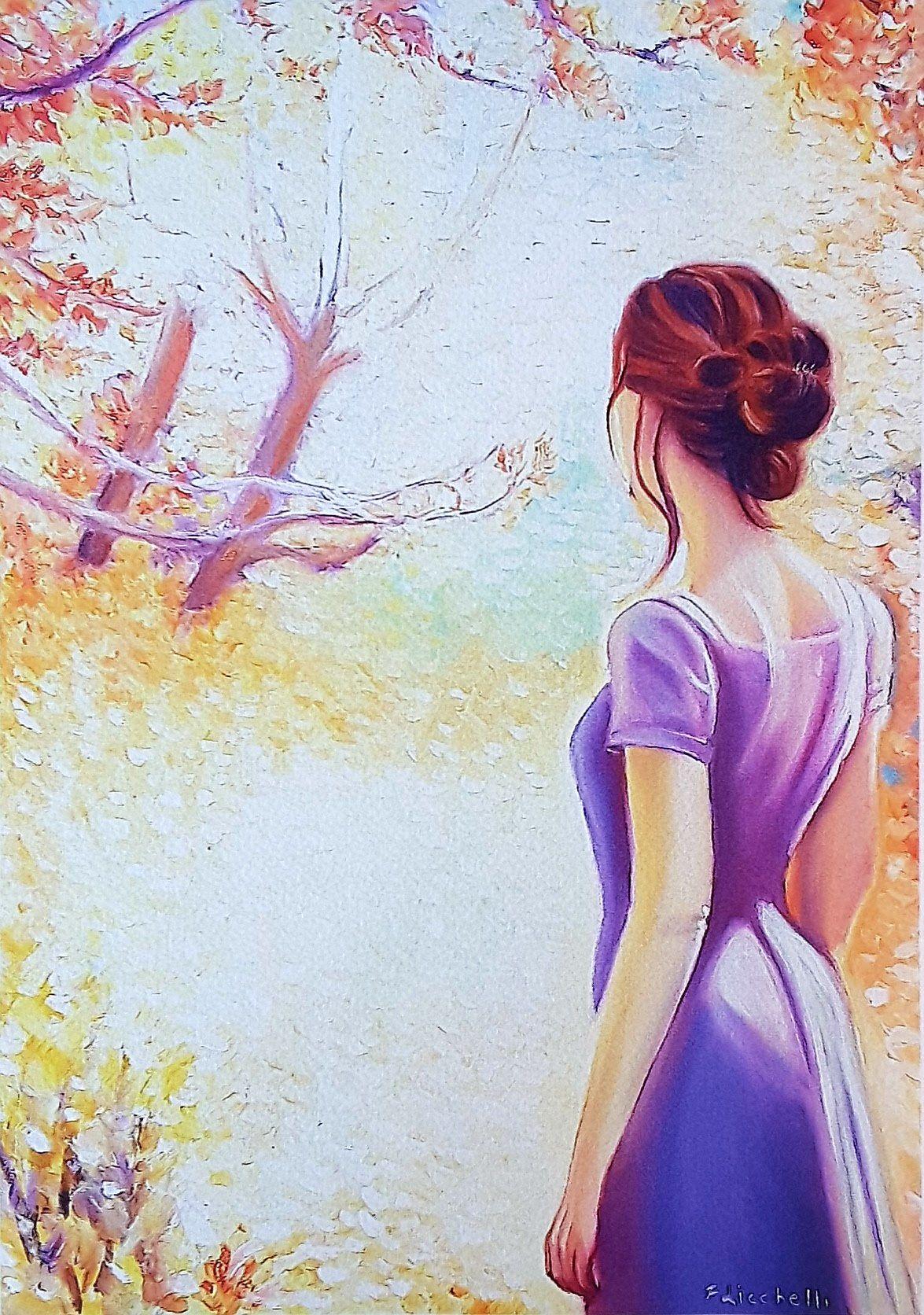 Donna Di Spalle Con Paesaggio Autunnale Stampa Giclée Fine Art Di