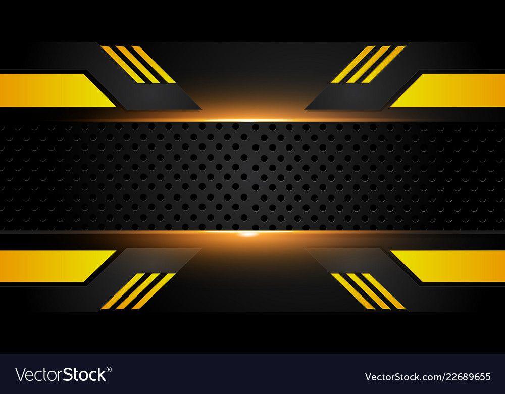 Abstract Metallic Yellow Orange Black Frame Vector Image