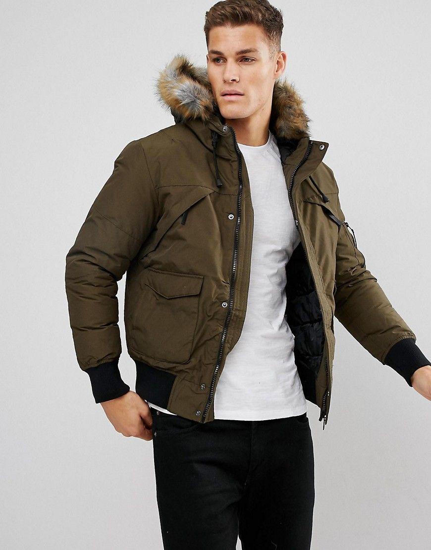 Bershka Short Bomber Jacket With Fur Hood In Khaki Green Fur
