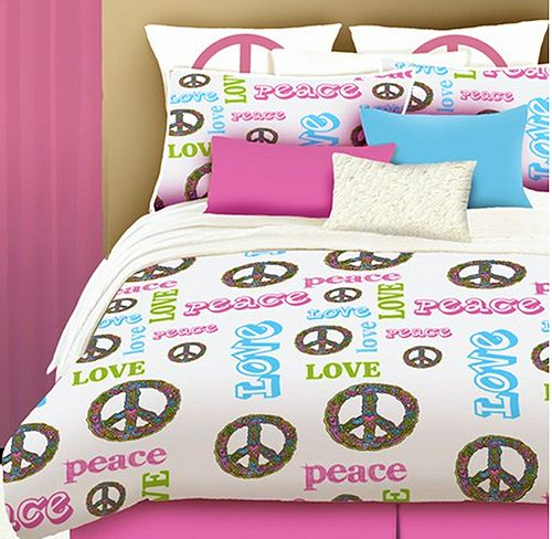 Twin Comforter Sets Girls | Love Peace Sign Bedding For Teen Girls Twin  Size Comforter Set