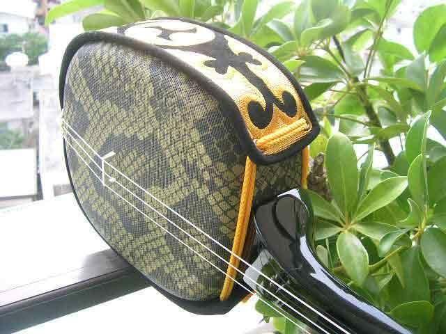 Sanshin (三線), Okinawan instrument with snakeskin & 3 strings, precursor of the Shamisen