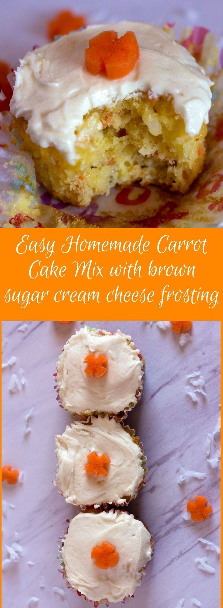 Easy Homemade Carrot Cake Mix Easy Homemade Carrot Cake Mix with brown sugar cream cheese frosting will be the easiest homemade carrot cake recipe you will ever make because the base is a yellow cake mix--and the easy frosting is to die for!