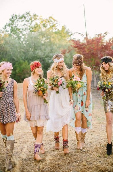 This is the kind of wedding I want! Everyone picks their own dress and we all wear bandanas and boots (preferably cowboy boots)! :)