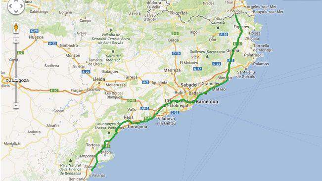 De la Jonquera a Alcanar 400 km de Via Catalana cap a lestat