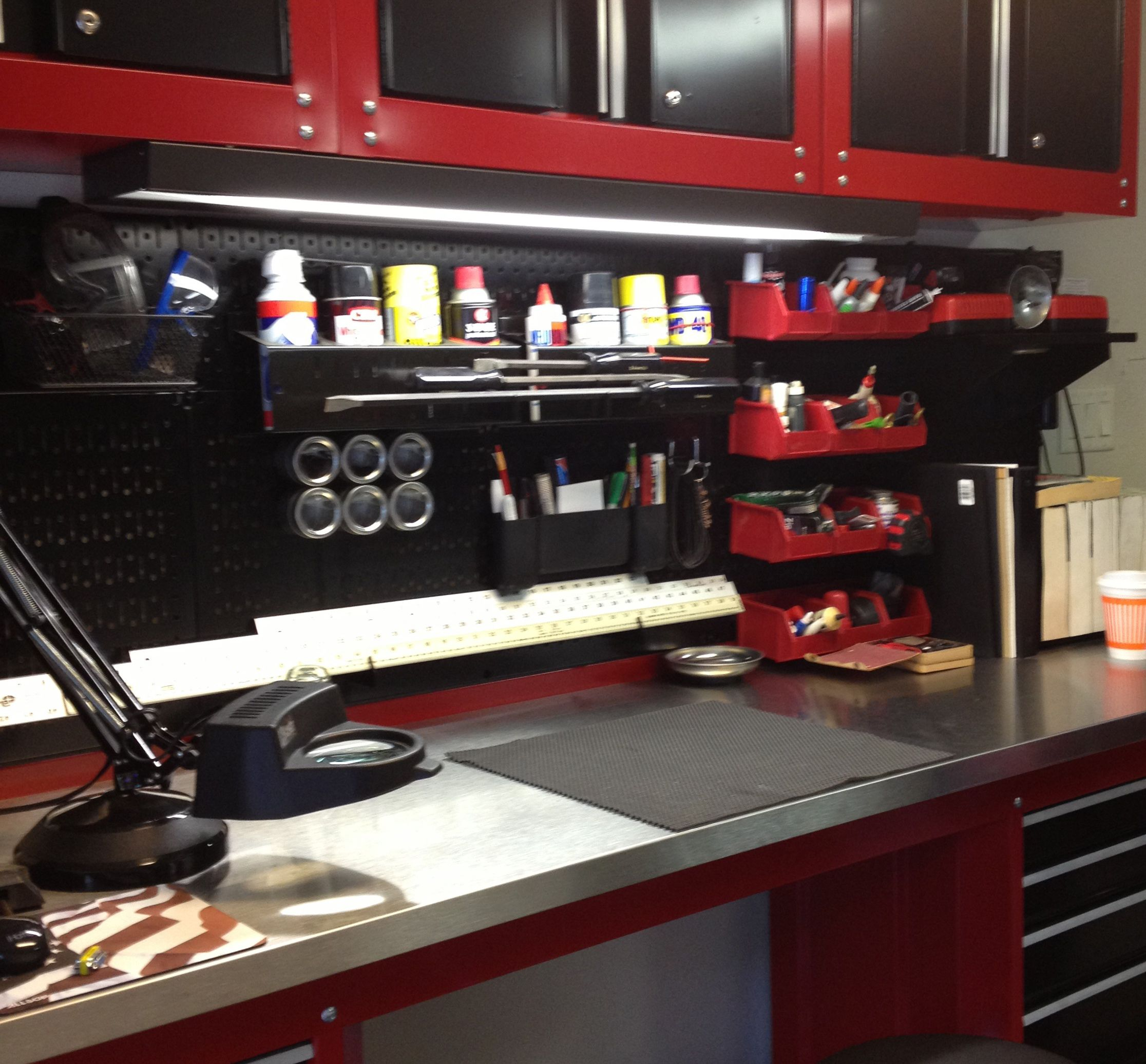 Garage Shop: A Very Nice Metal Pegboard Workbench With A Lot Of Wall