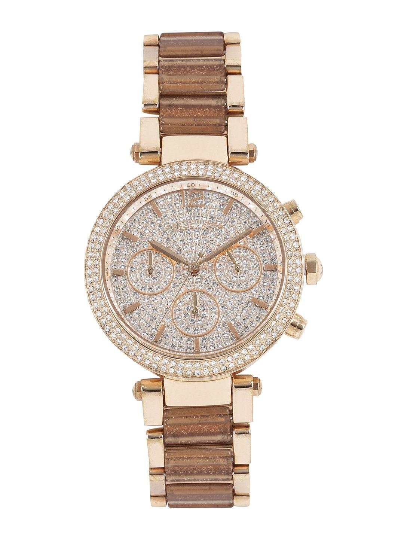 38ab0810645e Michael Kors Rose Gold Embellished Chronograph Watch MK6285 ...