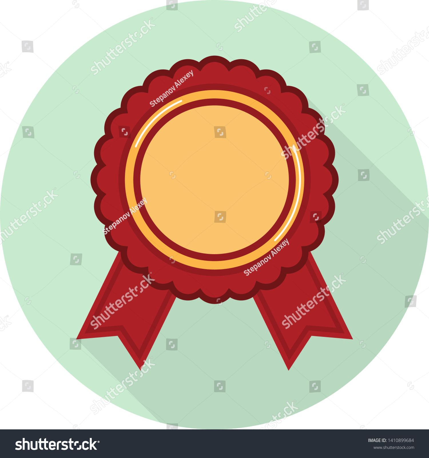 flat icon of gold medal with red ribbons on green background