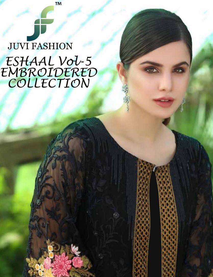c1aa76172e JUVI FASHION ESHAAL VOL 5 EMBROIDERED COLLECTION ORGANZA AND FAUX GEORGETTE  FANCY PAKISTANI STYLE DRESS MATERIAL DEALER SURAT