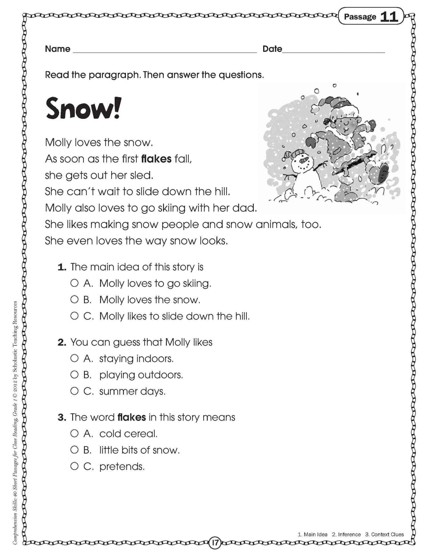 9 Close Reading Worksheet Primary Grades