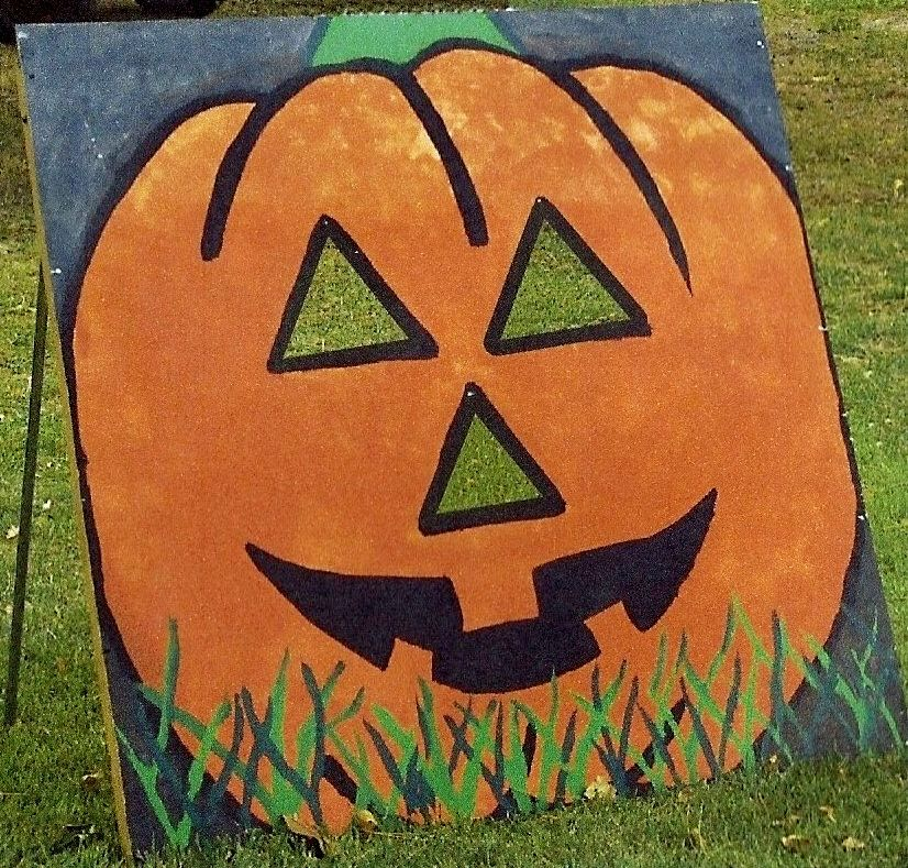 Carnival Games Ideas: Halloween Rustic Pumpkin Bean Bag Toss For Our Halloween