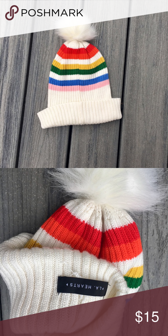 9dceaa043fe ... cream beanie Condition  NWOT Brand  La Hearts by Pacsun Size  Onesize  Measurements  stretchy one size fits most Style  rainbow stripes