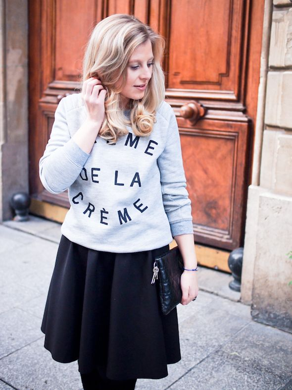 Sweatshirt, Zoe Karssen / skirt, Zara / clutch, Dior | In my ballerines blog