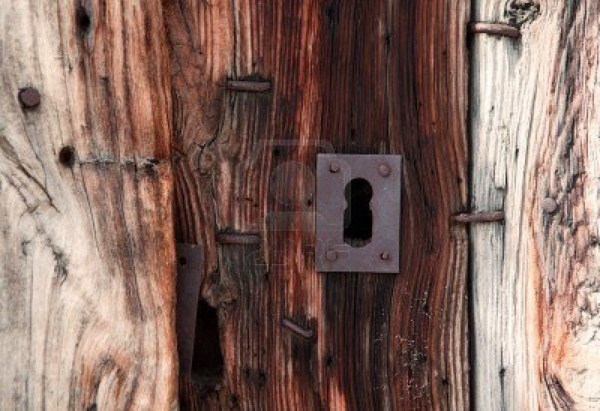 Oud Sluis en hout deur  Stockfoto