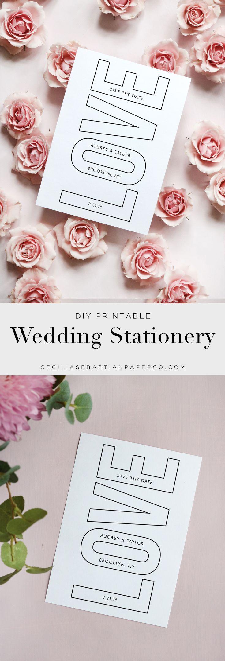 Modern Love Wedding Save the Date Template Minimal Outline Graphic Black and White Printableblack
