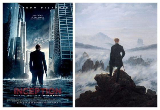 Inception Christopher Nolan 2010 Wanderer Above The Sea Fog Caspar David Friedrich 1818 Famous Artwork Film Inspiration Poster