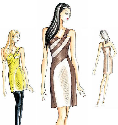 Marfy Pattern F2798 This dress is shaped with transverse bands and ...