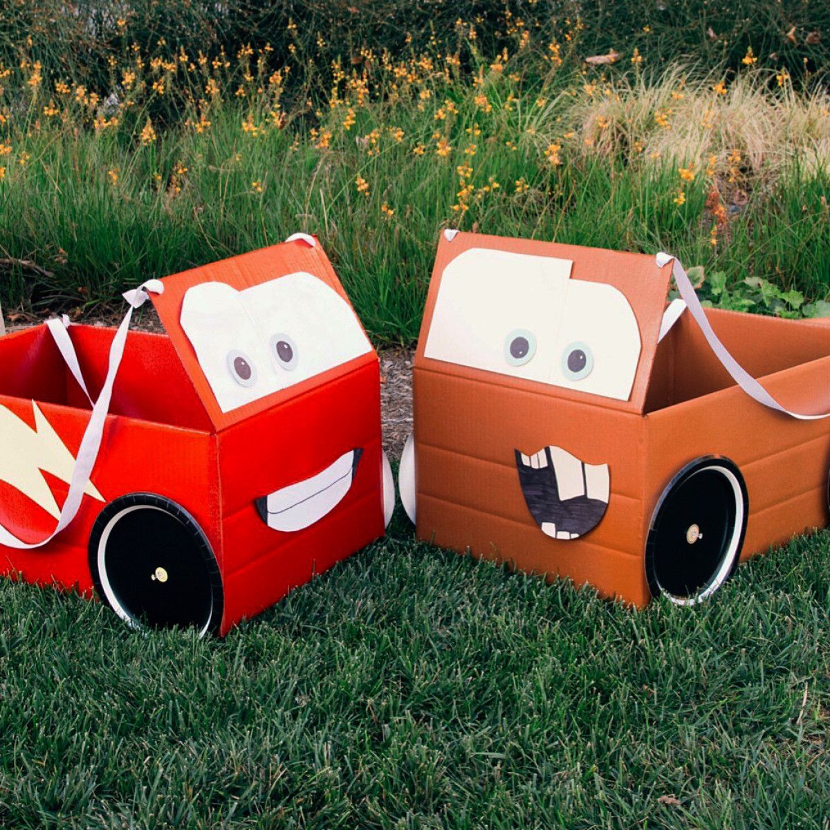 gather your trusty pit crew to help you make these cars inspired box car costumes
