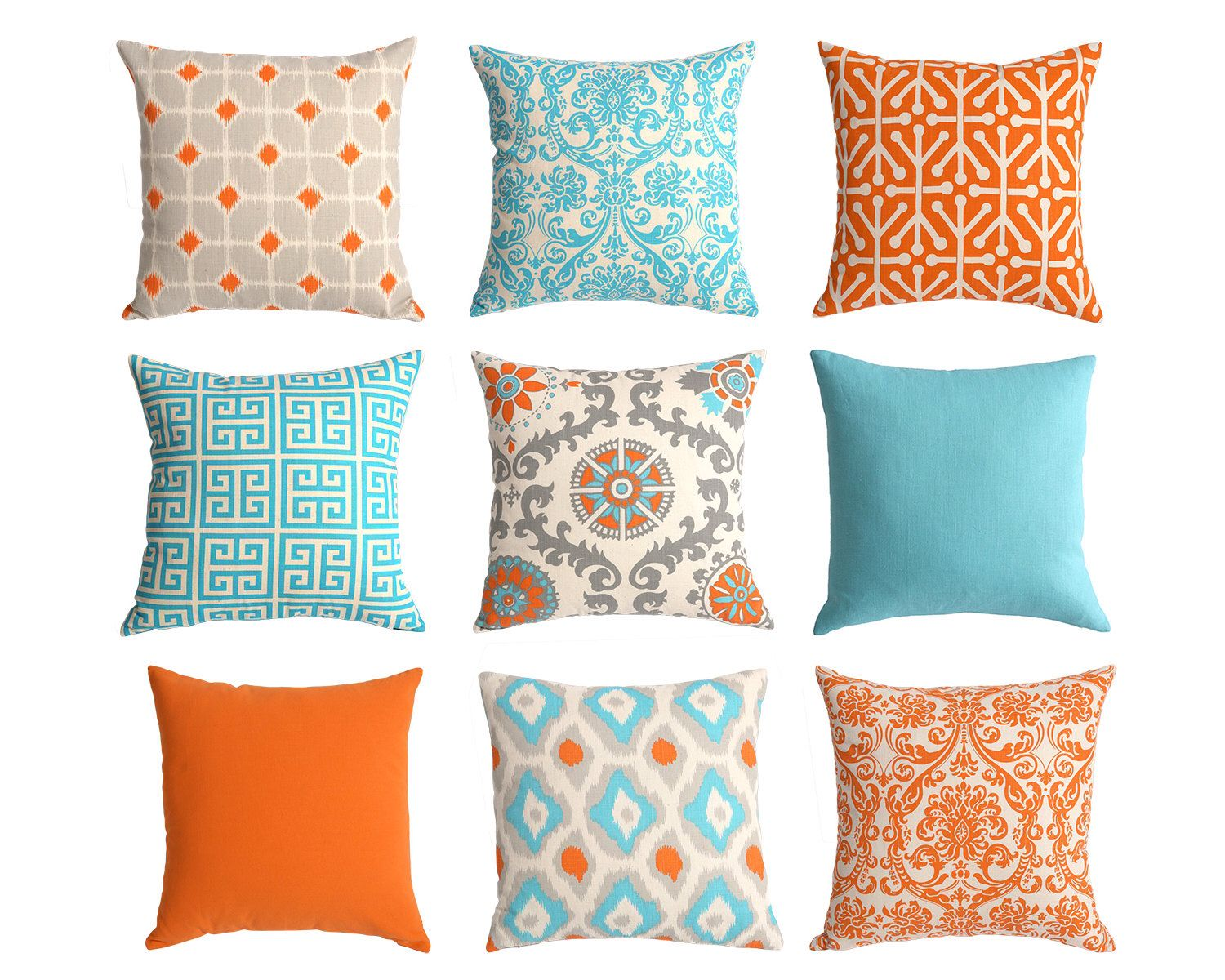 One Orange and Blue Euro sham 24x24 26x26 Inch Floor Pillow or ...