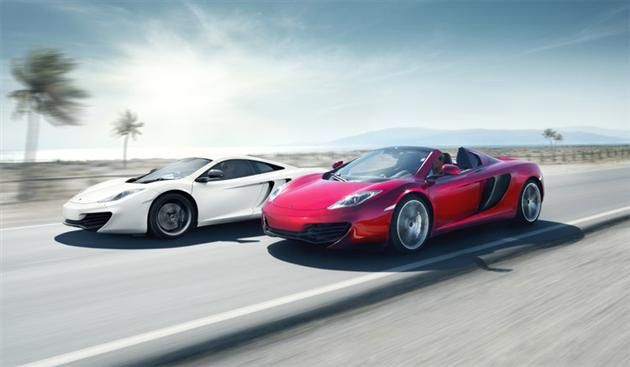 2013 McLaren MP4-12C Spider (the white one has the hardtop up ...