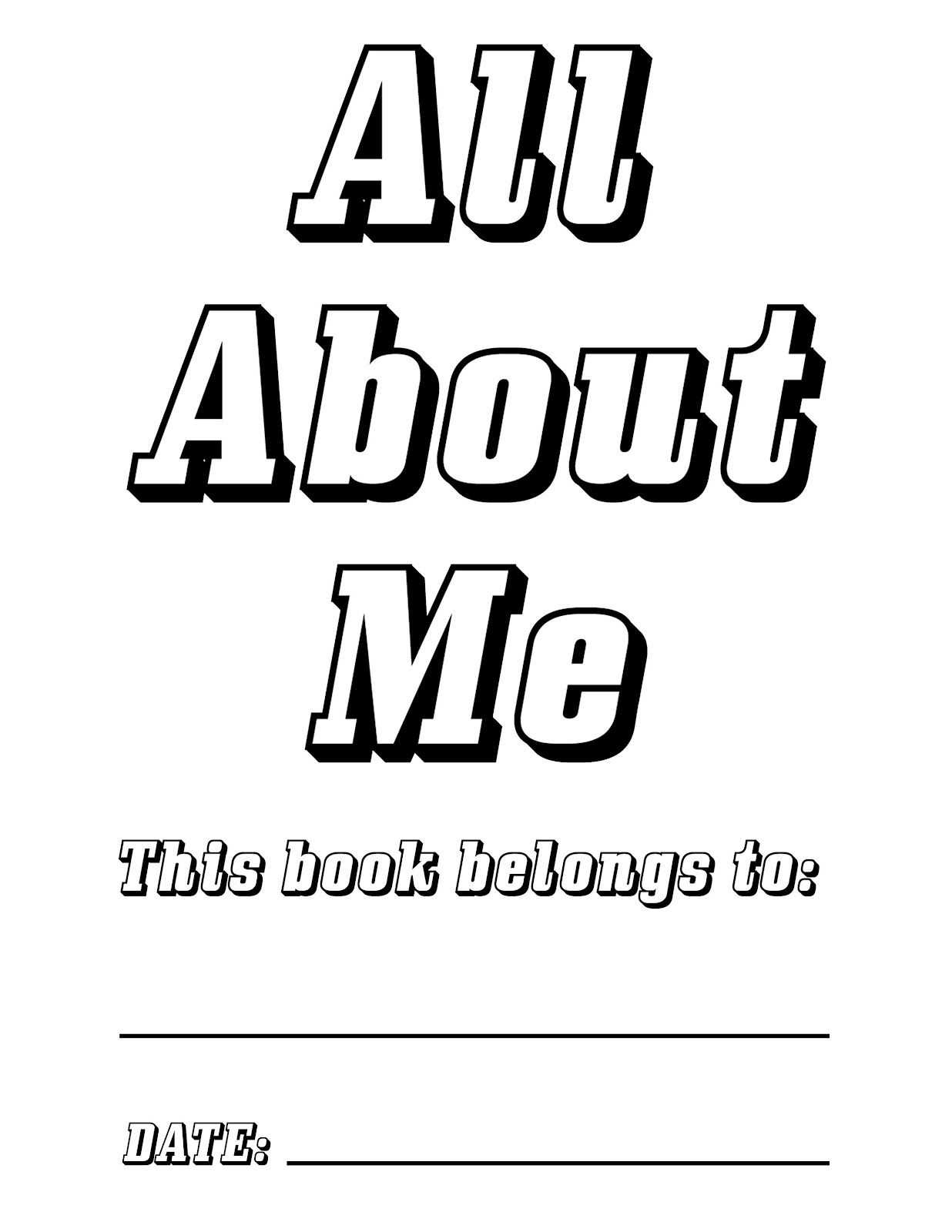 Free Printable All About Me Book Cover