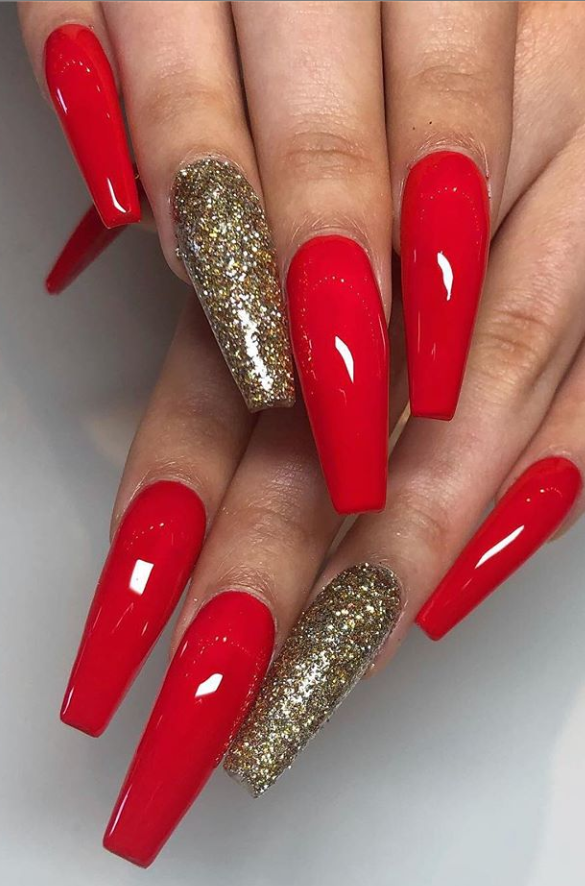 70 Hot Acrylic Coffin Nails Trend Ideas In 2019 Red Nails Glitter Red Acrylic Nails Gold Acrylic Nails