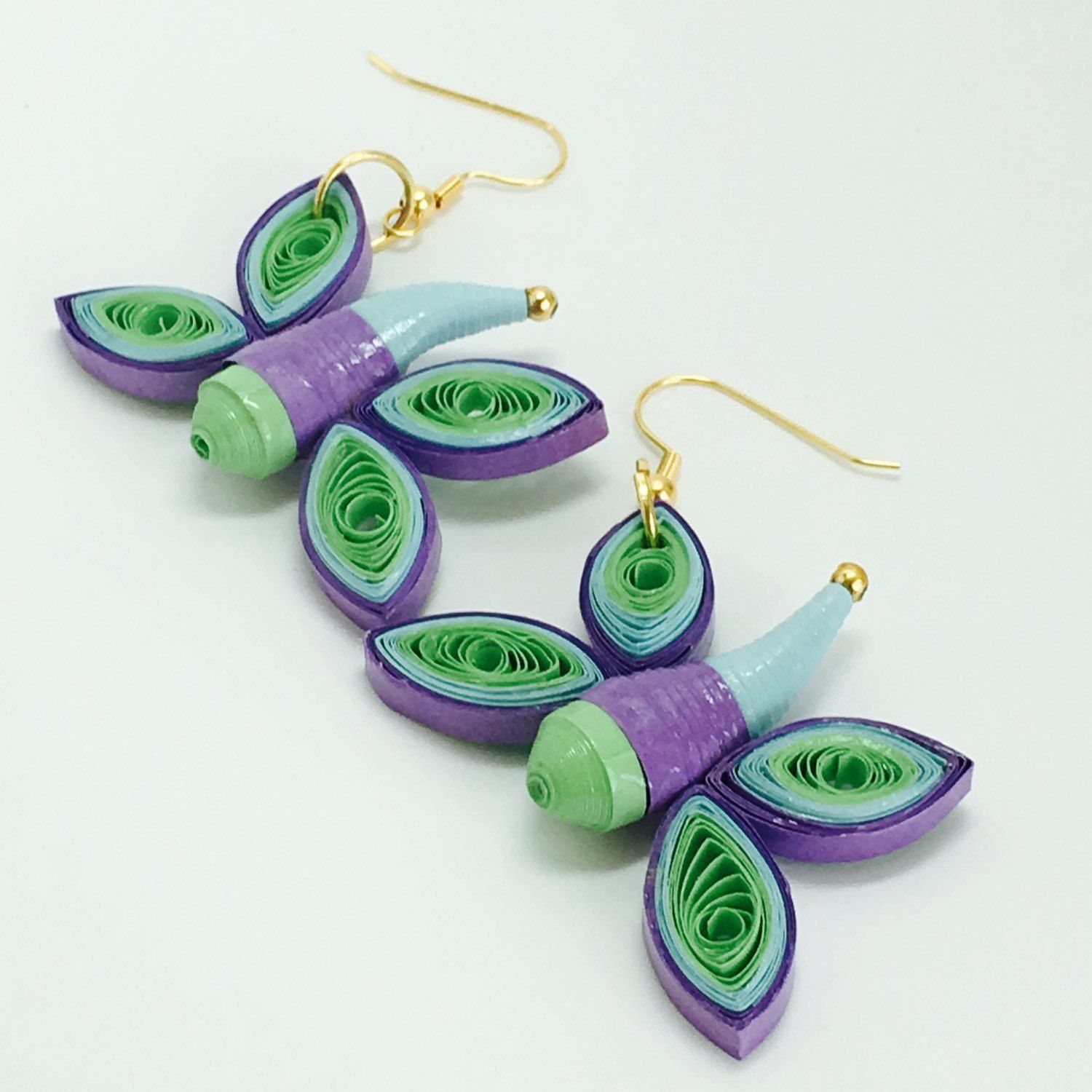 Quilled modern dragonfly paper earrings make great gift for her