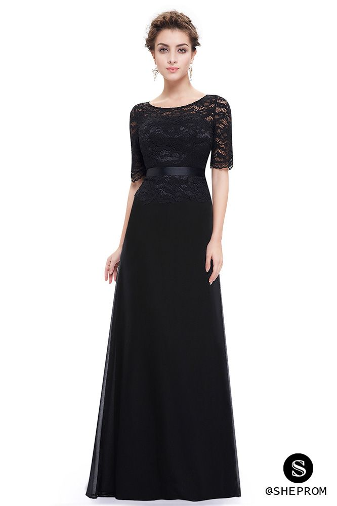 Black Lace Round Neck Long Evening Dress with Sleeves - $64 ...