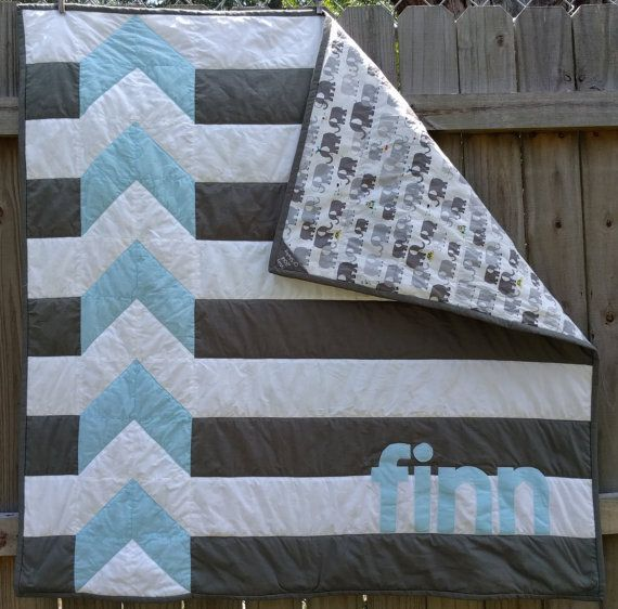Modern Personalized Chevron Quilt For Baby Boy By Shelsy