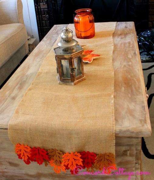 Burlap Fall Leaves Table Runner