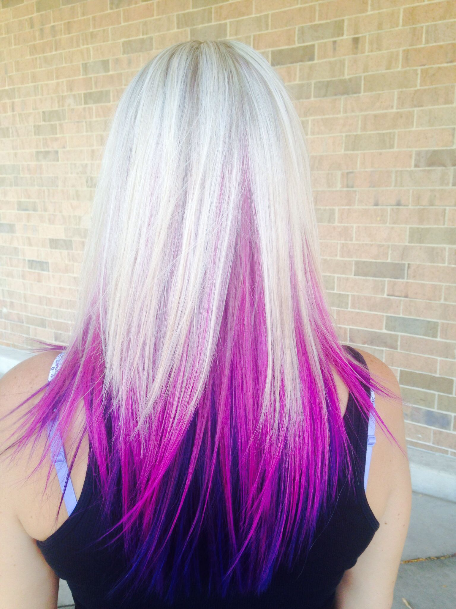 Purple pink under blonde highlight Color && Styles