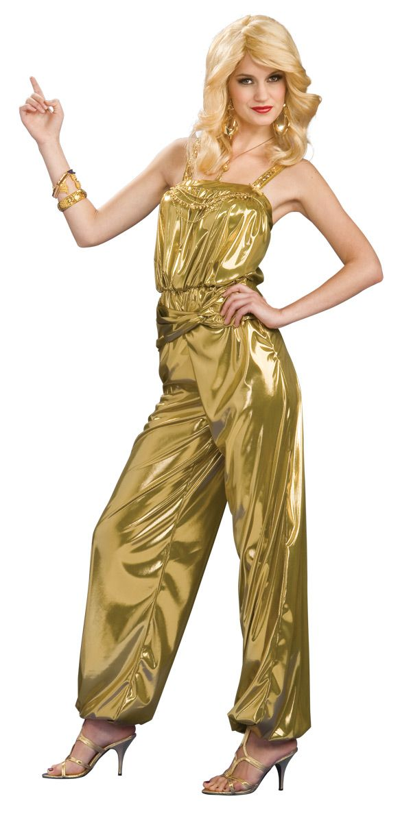1a9796450edc 70s Gold Disco Diva Dancing Star Costume - This is a gold digging disco  dancing jumpsuit costume. The Disco costume is a one piece sleeveless  jumpsuit.