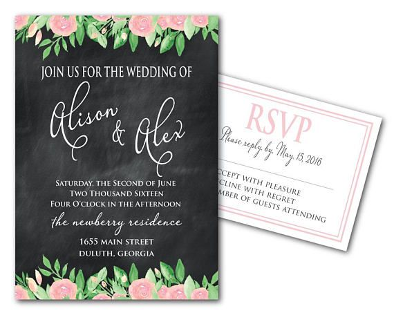 Chalkboard Printable Wedding Invitation Template And Rsvp Card