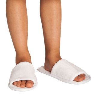 hot products top fashion classic styles White Open Toe Kids Velour Slippers | Birthday Parties ...