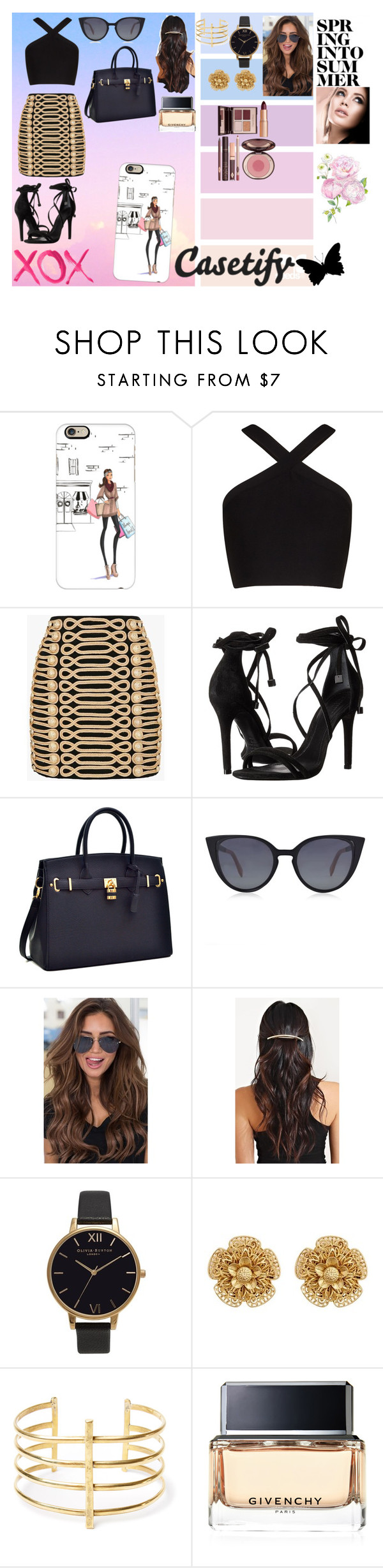 """casetify"" by omaduviemaya on Polyvore featuring Casetify, BCBGMAXAZRIA, Balmain, Schutz, GALA, Fendi, Olivia Burton, Miriam Haskell, BauXo and Givenchy"