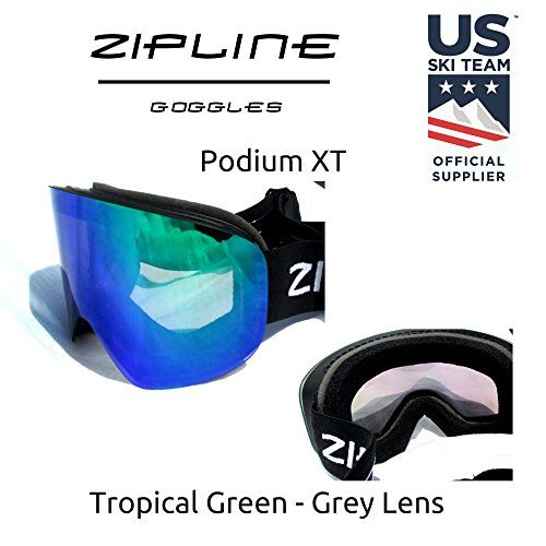 aa869fe06fb Ski Snowboard Snowmobile Goggles Zipline Podium XT No Fog Interchangeable  Magnetic Lenses Options US Ski Team Official Goggle Black Frame Gray  LensTropical ...