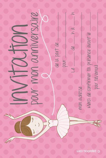 Invitation Anniversaire Danseuse Ballerine Rose Invitation Anniversaire Carte Invitation Anniversaire Carte Invitation Anniversaire Fille