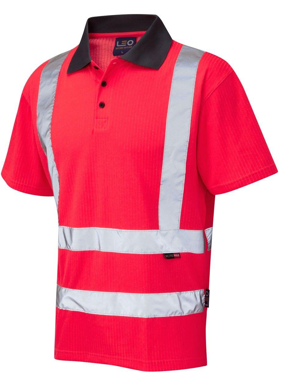 fec9688f1b9f52 Hi Vis Safety Short Sleeve Polo Shirt 2XL-6XL Red