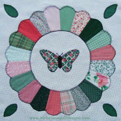 Dresden Plate with Butterfly Quilt Block | quilts | Pinterest ... : butterfly quilt blocks - Adamdwight.com
