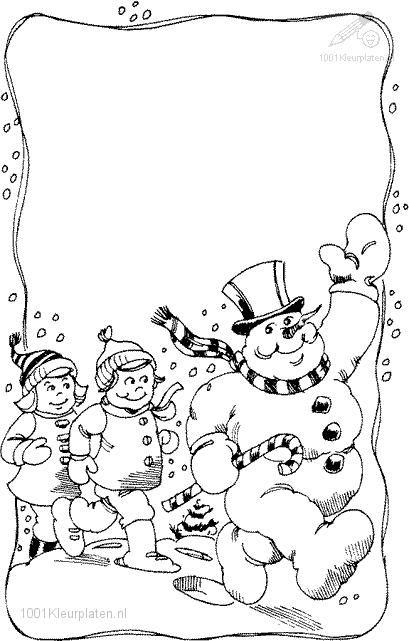 Snowman Coloring Page Teken De Sneeuwvlokjes Winter Pinterest