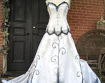 Gothic Wedding Gown Handpainted by TheBohemianGoddess on Etsy ...