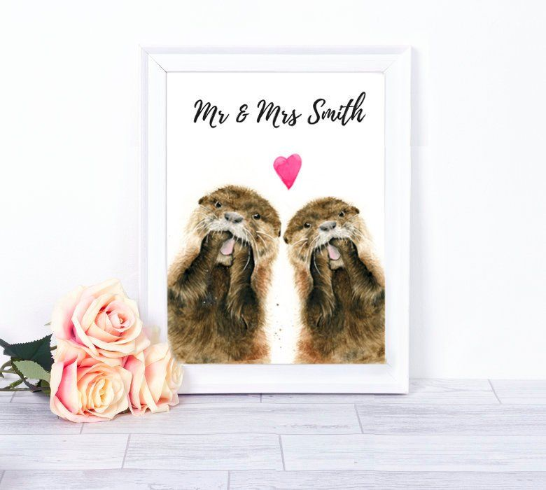 Otter Wedding Gift Otters In Love Otter Couple Personalised Etsy Wedding Prints Gift Personalized Wedding Print Wedding Prints