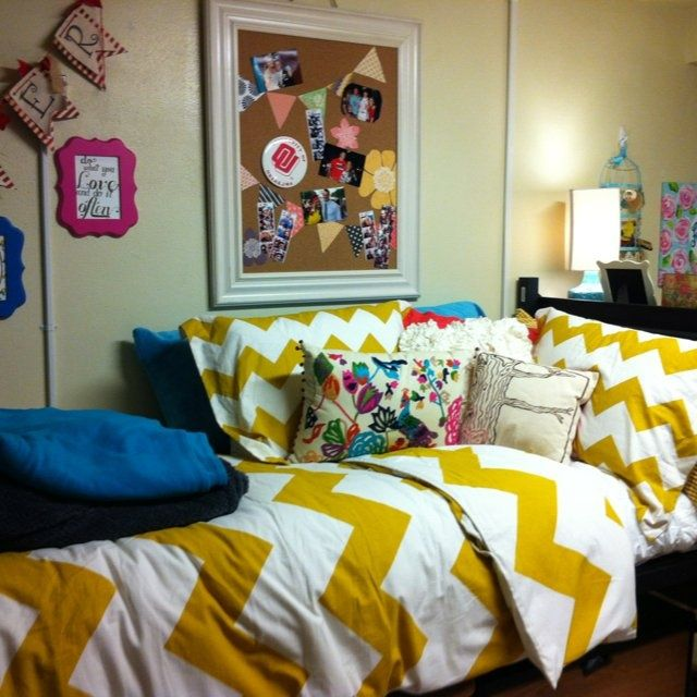 Yellow chevron bedspread and sheets for some college dorm room inspiration